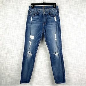 7 For All Mankind distressed ankle skinny jeans, medium wash, size 27